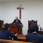 19年4月28日、講壇交換で浅草橋教会の山崎忍先生がメッセージ。